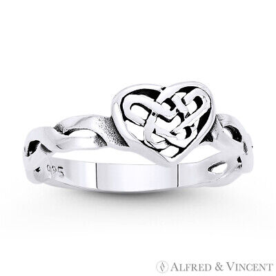 Heart & Celtic Knot Irish Love Charm Oxidized .925 Sterling Silver Promise Ring