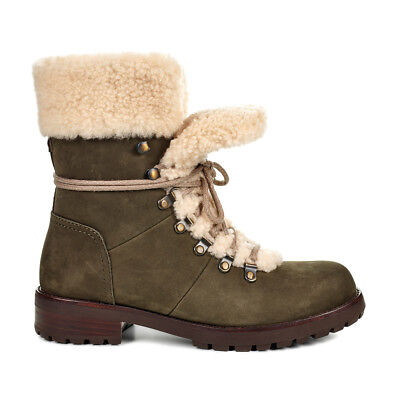 UGG AUSTRALIA UGGS WOMENS SLATE GRAY FRASER SHERPA LINNED LACE UP WINTER BOOTS
