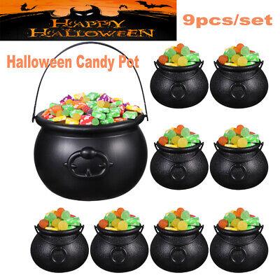 9PCS Halloween Candy Kettles Pot Halloween Cauldron Bucket With Handle Kids