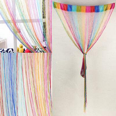 Rainbow Tassel String Door Curtain Room Window Doorway Divider Home Decor 200cm
