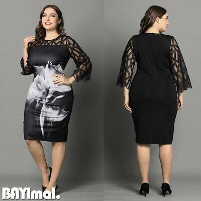 Plus Size Women Lace Midi Dress Ladies Evening Cocktail Party Ballgown Dresses