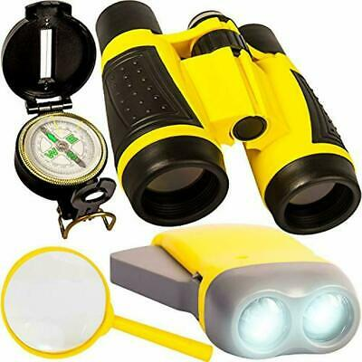 Toy Magnifying Glass (Kids Binoculars, Flashlight, Compass, Magnifying Glass, Young Explorer Toys)