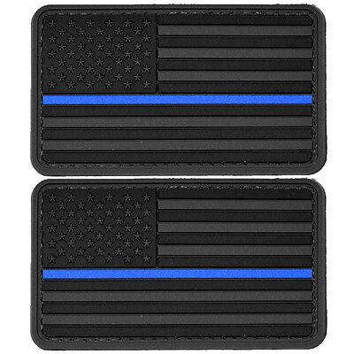 2x US Flag Blue Line Police PVC Morale Patch 3D Tactical Badge Hook #51