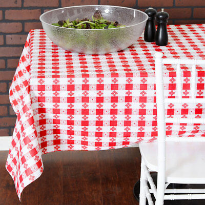 25 YARD Roll Red White Checkered Vinyl Table Cloth Cover Restaurant - Checkered Tablecloth Roll