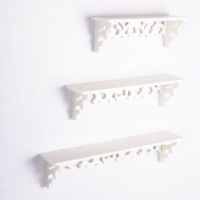WPC 3PCS Wall Floating Shelf Shabby Chic for Home Office Shop Display White UK