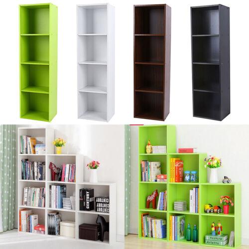 3/4 Shelf Bookcase Storage Bookshelf Wood Furniture Adjustab
