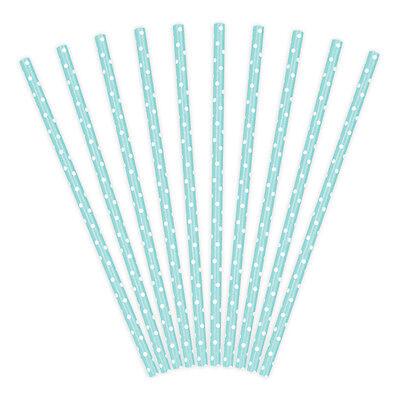 Papierstrohhalme hellblau Punkte weiß 10 St. – Strohhalme Papier Trinkhalme blau