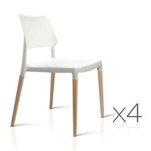 4 x Ora Staackable Wooden White Dining Chairs