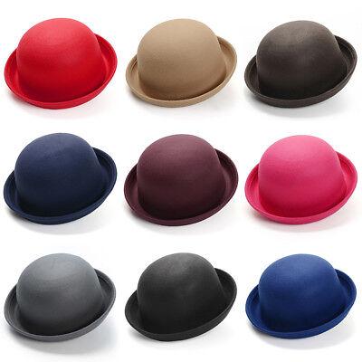 Women Kid Cute Wool Felt Bowler Hats Dome Fedora Cloche Derby Warm Bell Top Caps - Kids Derby Hats