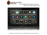 "7"" HD 1080P Android Navigation WiFi Internet USB SD Double Din Car Stereo + Screen Mirror"