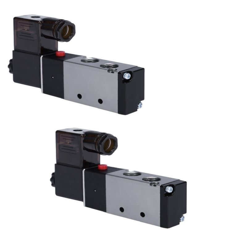 """2x  1/4"""" Direction Control Air Solenoid Valve Pneumatic 4 Way 2 Position 110V AC"""