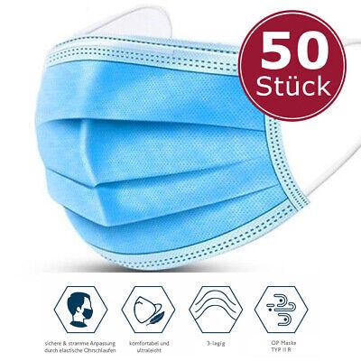 50x Medizinischer Mundschutz Typ IIR OP Maske Chirurgische Atemschutzmaske CE