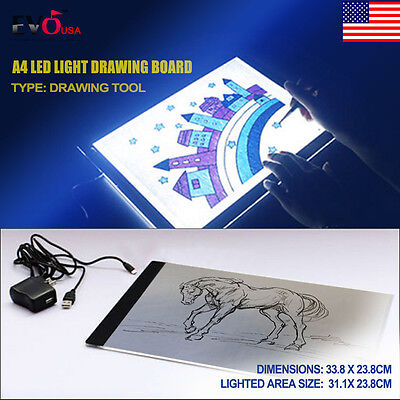 A4 LED Light Stencil Art Board Box Tracing Drawing Table Tattoo Pad + Adapter
