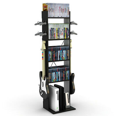 Atlantic 38806138 Tall Game Central Storage With 5 Fixed Shelves in Black Finish