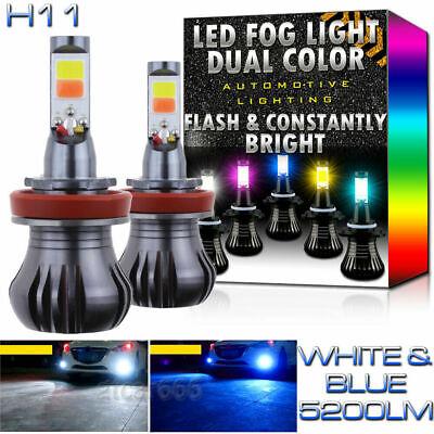 H11 H8 H9 H16 LED DRL Fog Driving Light Bulbs Dual Color Strobe Flash White