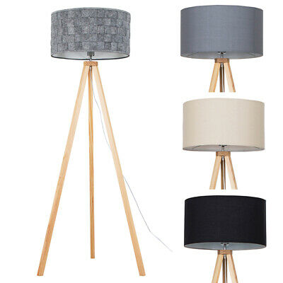 Tripod Floor Lamp Wooden Base Cotton Shades Living Room Lighting LED Light Bulb