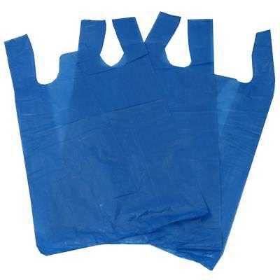 1000 Blue Plastic Vest Carrier Bags Size 17x11x21