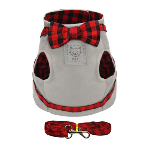 """11.5""""Chest Cotton Cat Harness and Leash set Cute Small Puppy Kitten Vest Clothes"""
