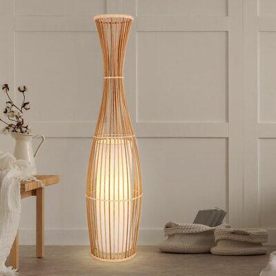 Bambú Tejido Cesta Lámpara de Pie Boho Estilo Iluminación Pasillo Natural