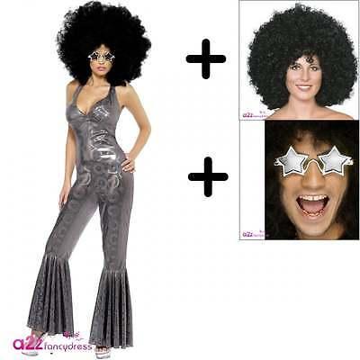 Disco Diva Erwachsene 70er Jahre Catsuit Kostüm Set + Afro Perücke + - Afro Diva Kostüm