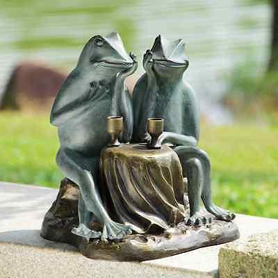 "Wine & Dining Drinking Frogs Metal Garden Sculpture Frog Statue Ind Outdoor 15""H"