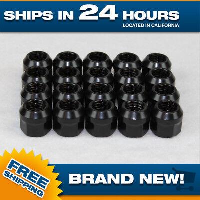 (14x1.5 lug nut - black - open end steel - M14x1.5 - Set of 20 wheel lugnuts)