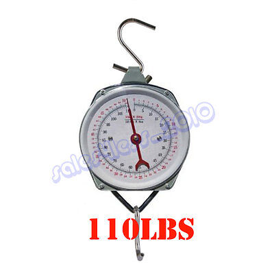 NEW 110LBS HANG UP SPRING SCALE DIAL WEIGHT ACCURATE HANGING SCALE PRODUCE -