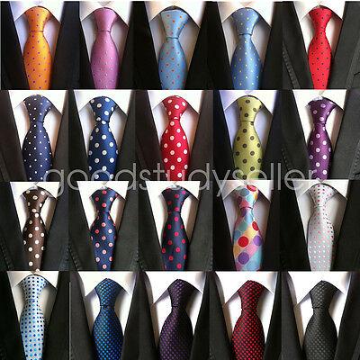 High Quality Dots - High Quality Mens Wedding Silk Tie Dot Pattern JACQUARD WOVEN Necktie