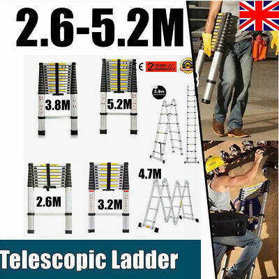 3.8M 5.2M 4.7M Multi Purpose Aluminium Telescopic Ladder Extension Extendable
