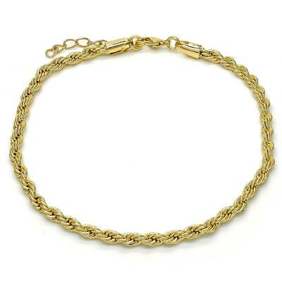 Women's 14K Gold Filled Rope Design Twist Anklet 9.5-10.5 inches -