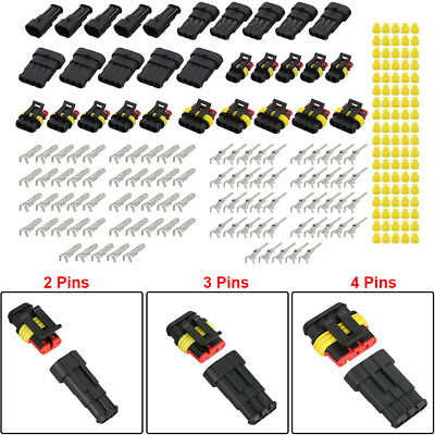 15kits 2 3 4 Pins Way Sealed Waterproof Electrical Wire Connector Plug Universal