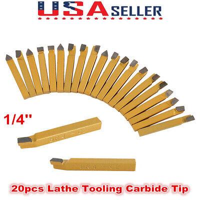 20x 14 Carbide Tip Tipped Cutter Tool Bit Cutting Set For Metal Lathe Tooling