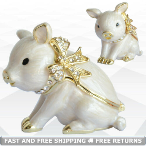 Pig Animal Jewelry Trinket Box With Hinged Lid Enamel Bejeweled Crystal Souvenir