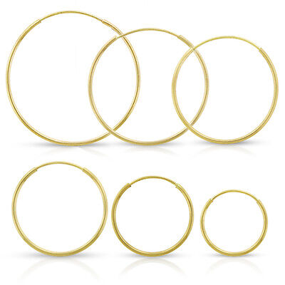 14k Yellow Gold Womens Endless Tube Hoop Earrings 1mm Thick 10mm - 20mm