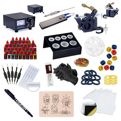 Complete Beginner Starter Tattoo Machine Kit Gun Equipment 40 Color Ink Set on Rummage