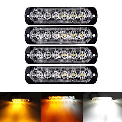 - 4X Amber/White 6LED Car Truck Emergency Beacon Warning Hazard Flash Strobe Light