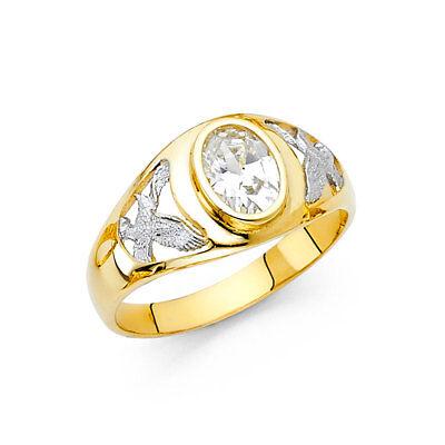 Men 14k Yellow White Real Gold Oval Big CZ Eagle Bird Fashion Wedding Ring Band