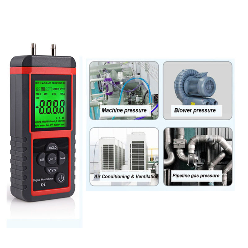 LCD Digital Manometer Differential Air Pressure Meter ±2.999 Psi Gauge KPA