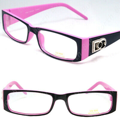 New WB Womens Purple Clear Lens Frame Eye Glasses Rectangular Fashion Designer Frame Purple Lens