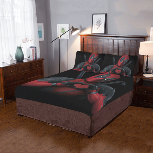 deadpool 3 piece bedding set duvet cover