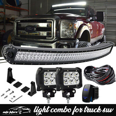 "54"" Curved LED Light Bar Combo Kit Ford F250 F350 Super Duty Upper Roof Mount"