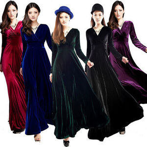 New-Womens-V-Neck-Gorgeous-Shimmer-Velvet-Stretch-Long-Sleeve-Dress-UK-Size-6-14