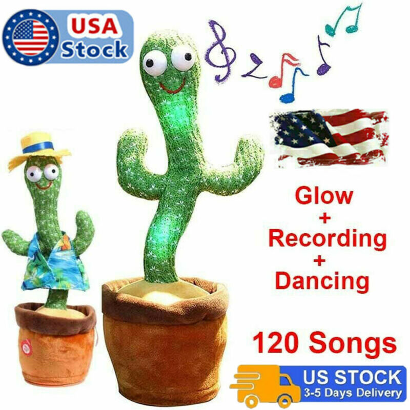 Dancing Cactus Plush Toy Doll Electronic Recording Shake With Song Funny Gift JL