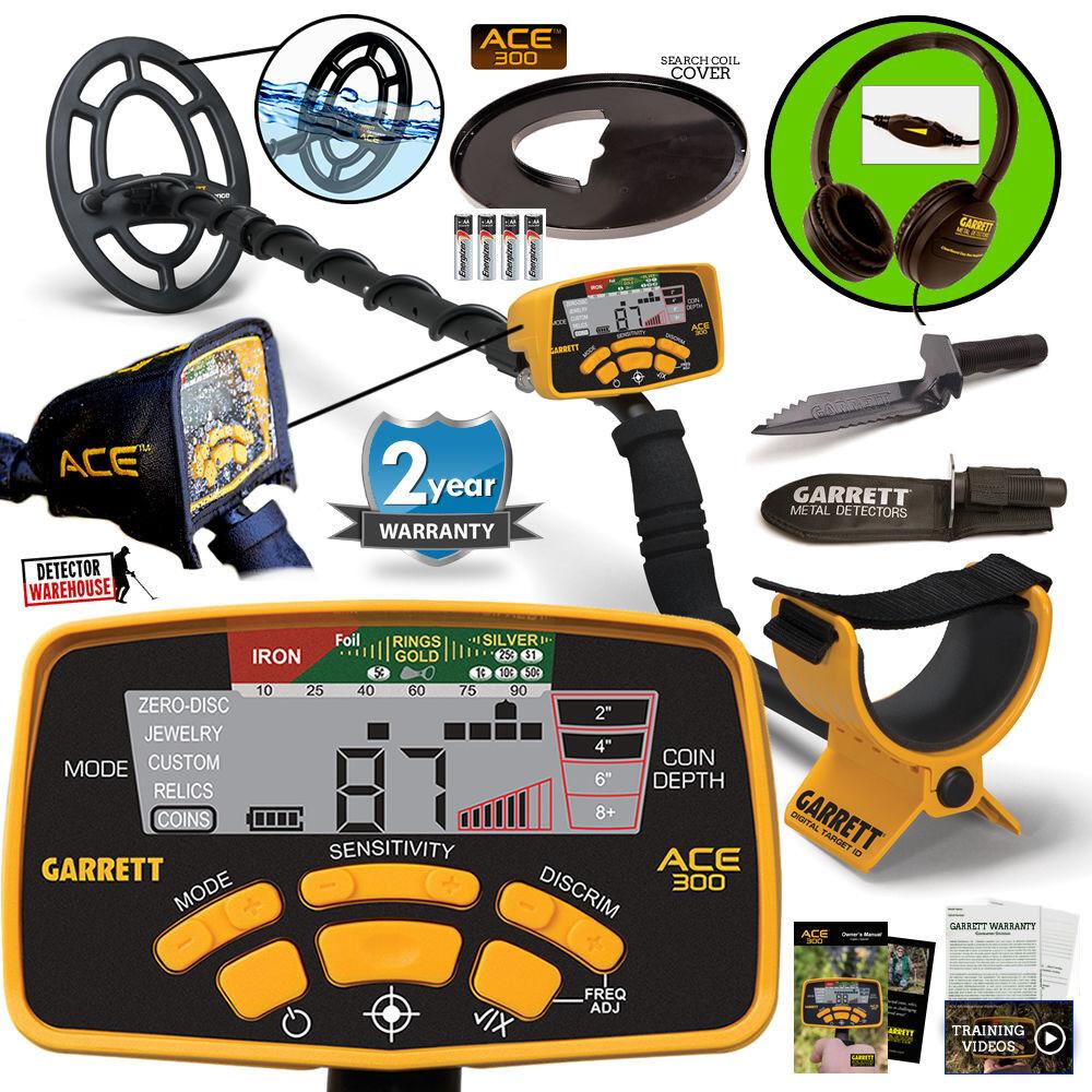 Garrett ACE 300 Metal Detector Waterproof Coil, Headphones & Edge Digger & More!