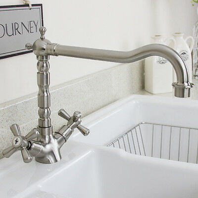 Traditional Brushed Steel Twin Handle Swivel Spout Kitchen Sink