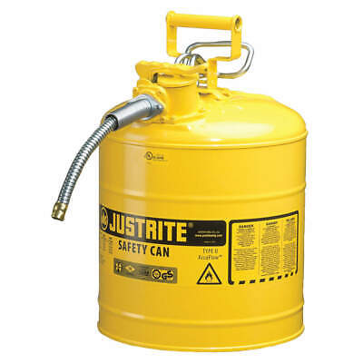 Justrite Type Ii Accuflow 5 Gal Safety Gas Can W 1 In. Spout Yellow