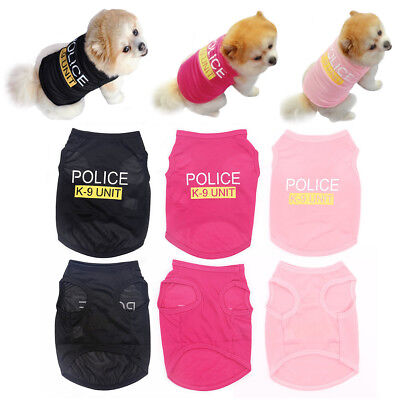 Pink Dog Clothes UNIT Costumes POLICE Apparel K-9 Puppy Pets TShirt New Dogs