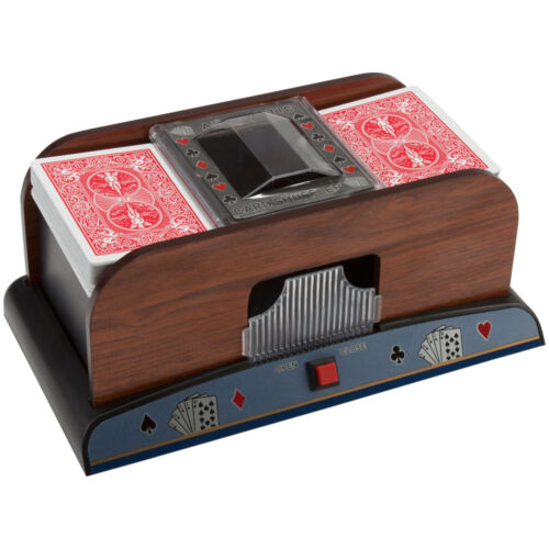Wooden 2-Deck Automatic Card Shuffler For Poker Casino Games
