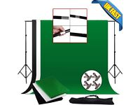 Photo Studio Background Stand Kit Black White Green