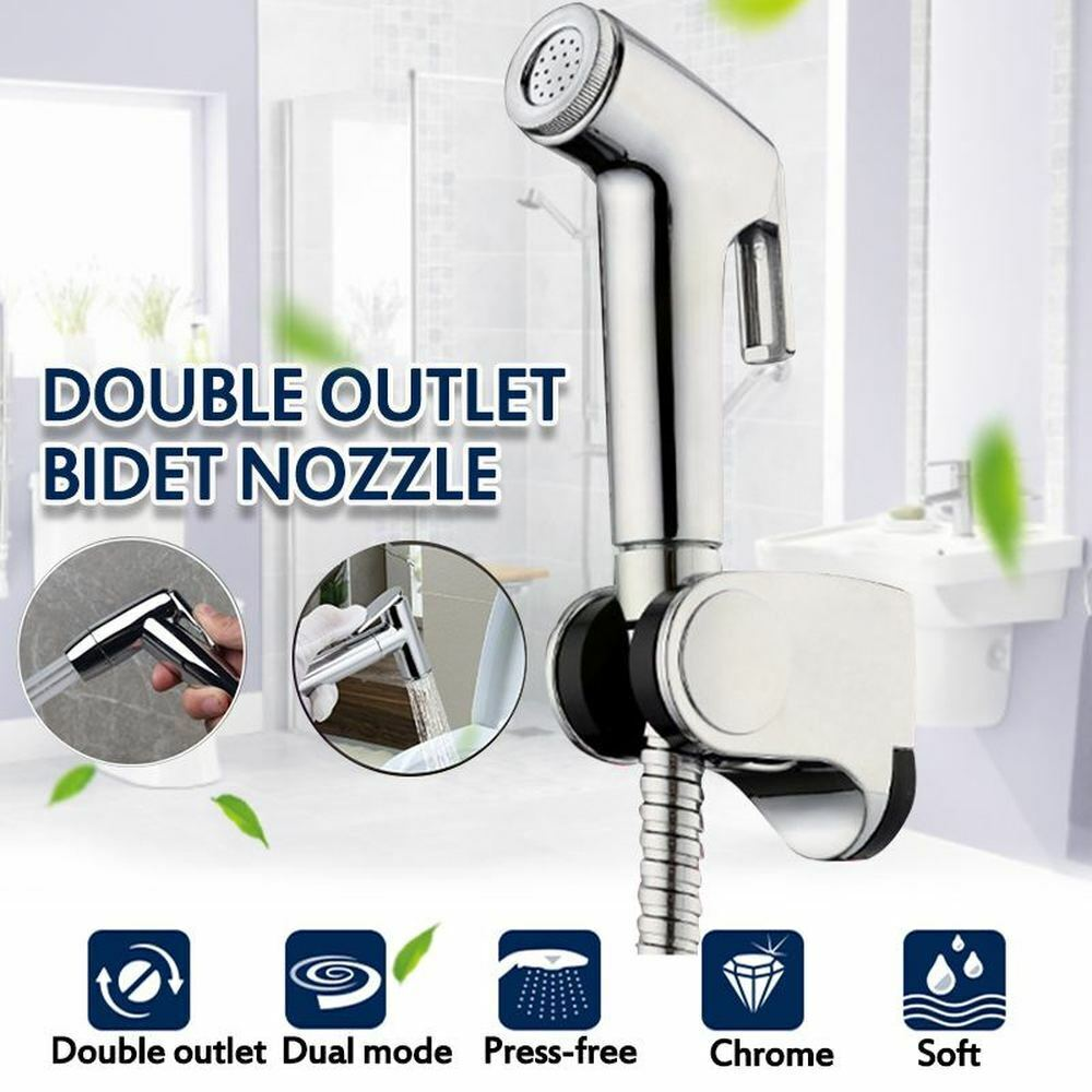 Handheld ABS Bidet Toilet Sprayer Set Shattaf Bathroom Toilet T-Adapter Kit Bath